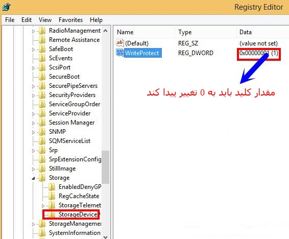 پیغام خطای the disk is write protected